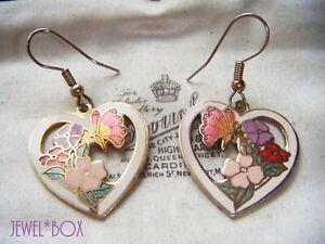 VINTAGE-1970s-CLOISONNE-ENAMEL-Hearts-Flowers-Butterflies-Drop-Pendant-EARRINGS