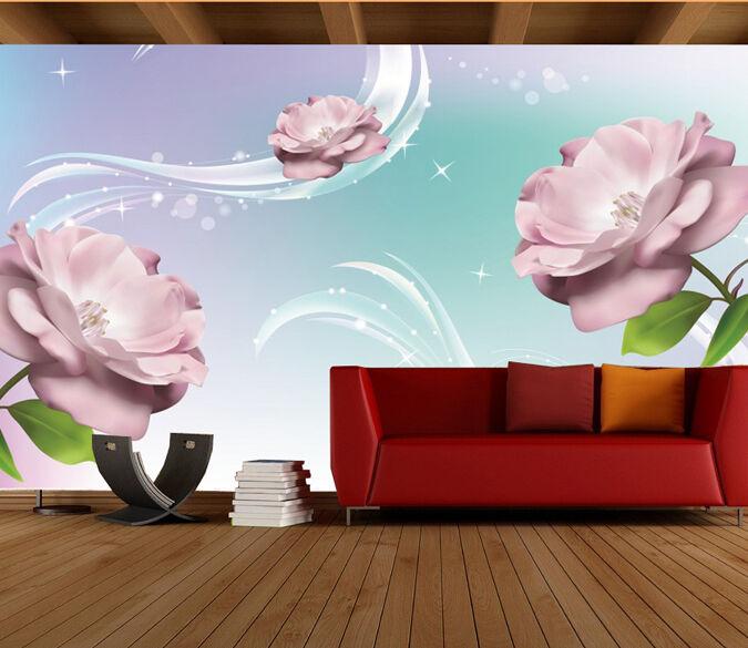 3D Pourpre Jasmin 1.Photo Papier Peint en Autocollant Murale Plafond Chambre Art