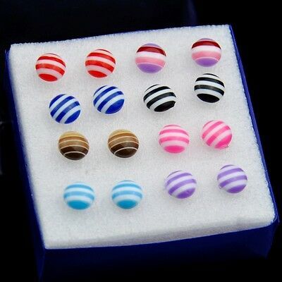 fashion 8 Pairs Mixed Color Lovely Round Earrings ED026