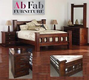 Cobar Queen Bed Bedroom Suite Solid Timber Rustic Walnut 2 X Bedside Chest Ebay
