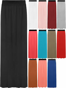 New-Womens-Plain-Stretch-Elasticated-Ladies-Full-Length-Long-Maxi-Skirt-8-14