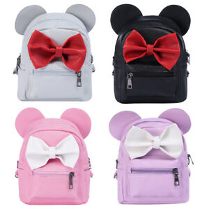 3fc4f5b37925 Image is loading Kids-Girl-Minnie-Mouse-PU-Leather-Backpack-Bowknot-