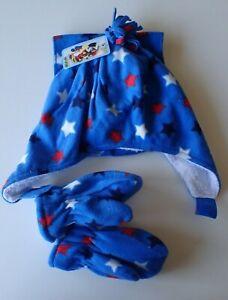 Kids-Winter-Sherpa-Fleece-Lined-Hat-w-Mittens-amp-scarf-Blue-w-stars-Sz-2-4