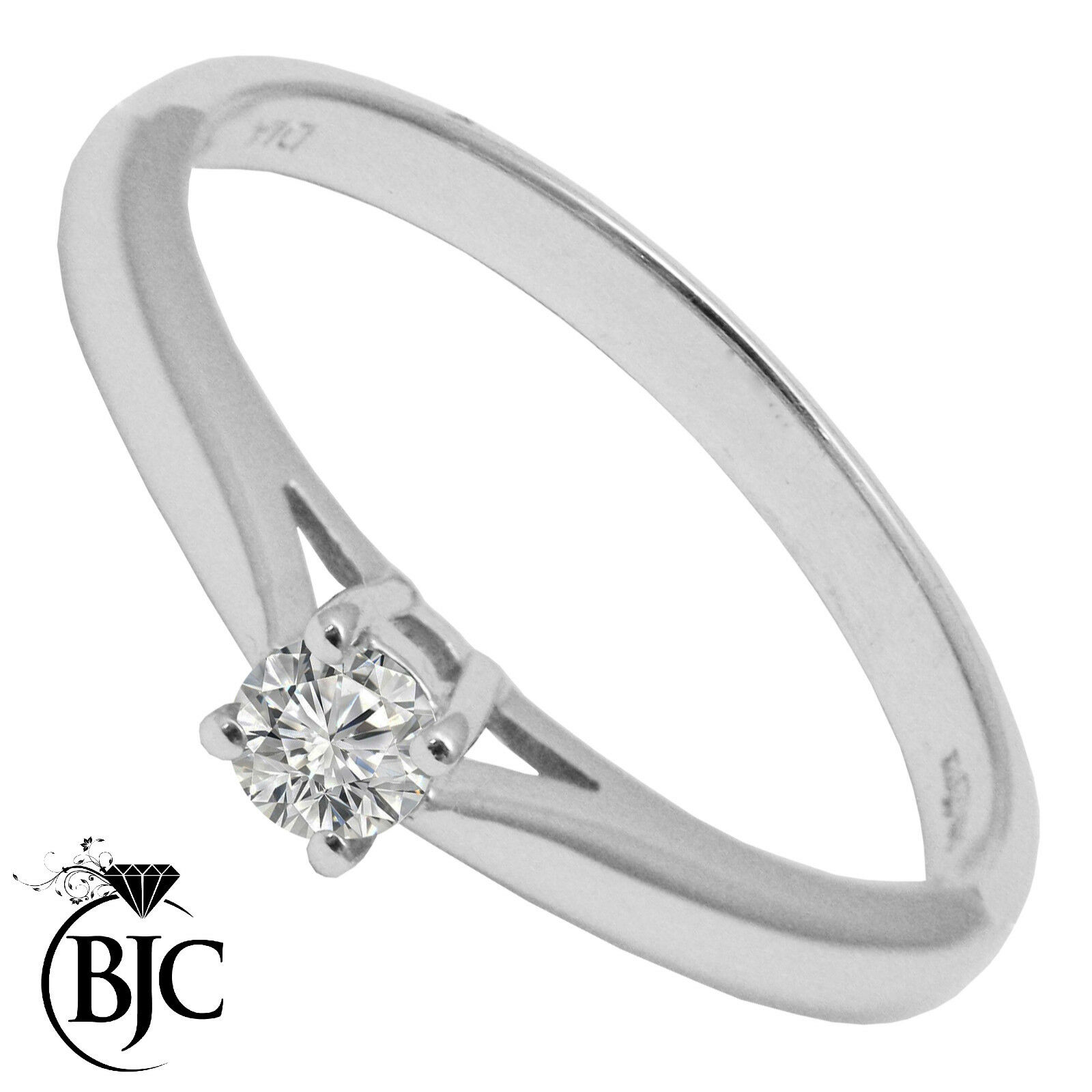 Bjc 9 Ct or white Diamant 0.10ct size P - Q Solitaire Bague de Fiançailles R95