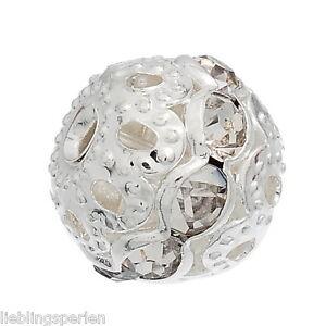60-Metallperlen-Rondelle-Perlen-Ball-Beads-Weiss-Strass-9x10mm