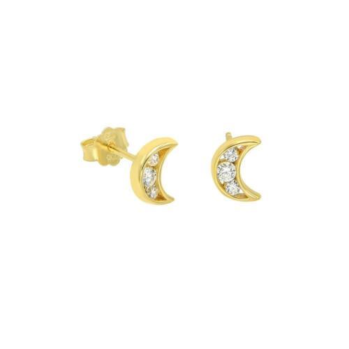 Women Baby Girl 14k Yellow Gold Sterling Silver Clear CZ Moon Stud Earrings