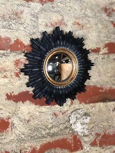 Glace / Miroir Soleil Noir Et Doré Oeil De Sorcière Diamètre 25 Cm
