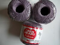 Red Heart Fashion Crochet Thread,100% Cotton, Plum (lavender), Size 3, Lot Of 3