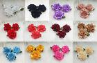 12-120pcs DIY satin ribbon Carnation Flower Appliques/craft/Wedding decoration