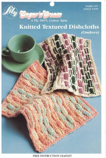Lily Knitted Textured Dishcloths Pattern Using Sugarn Cream 4 Ply