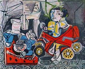 1955-Original-Picasso-Vintage-Colour-Print-034-Claude-and-Paloma-at-Play-034-Book-Plat
