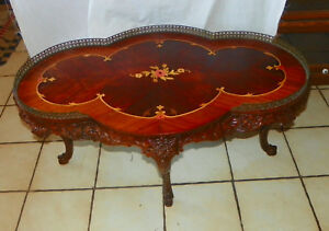 rp-ct184 Tables Marquetry Inlaid Mahogany Coffee Table With Brass Gallery Post-1950