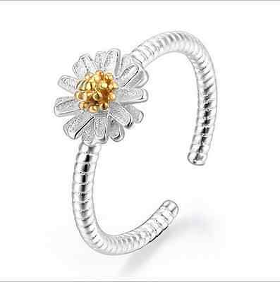 925 Sterling Silver Rings Gold Chrysanthemum Ring For Women Christmas Gift