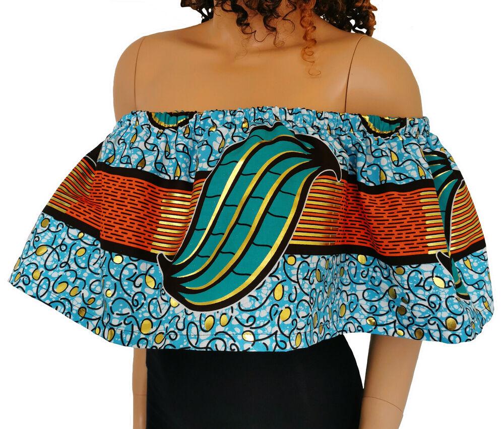 """""""salome"""" Femme Africaine Imprimé Off-épaule Top 100% Cire Coton Fait Main Uk"""