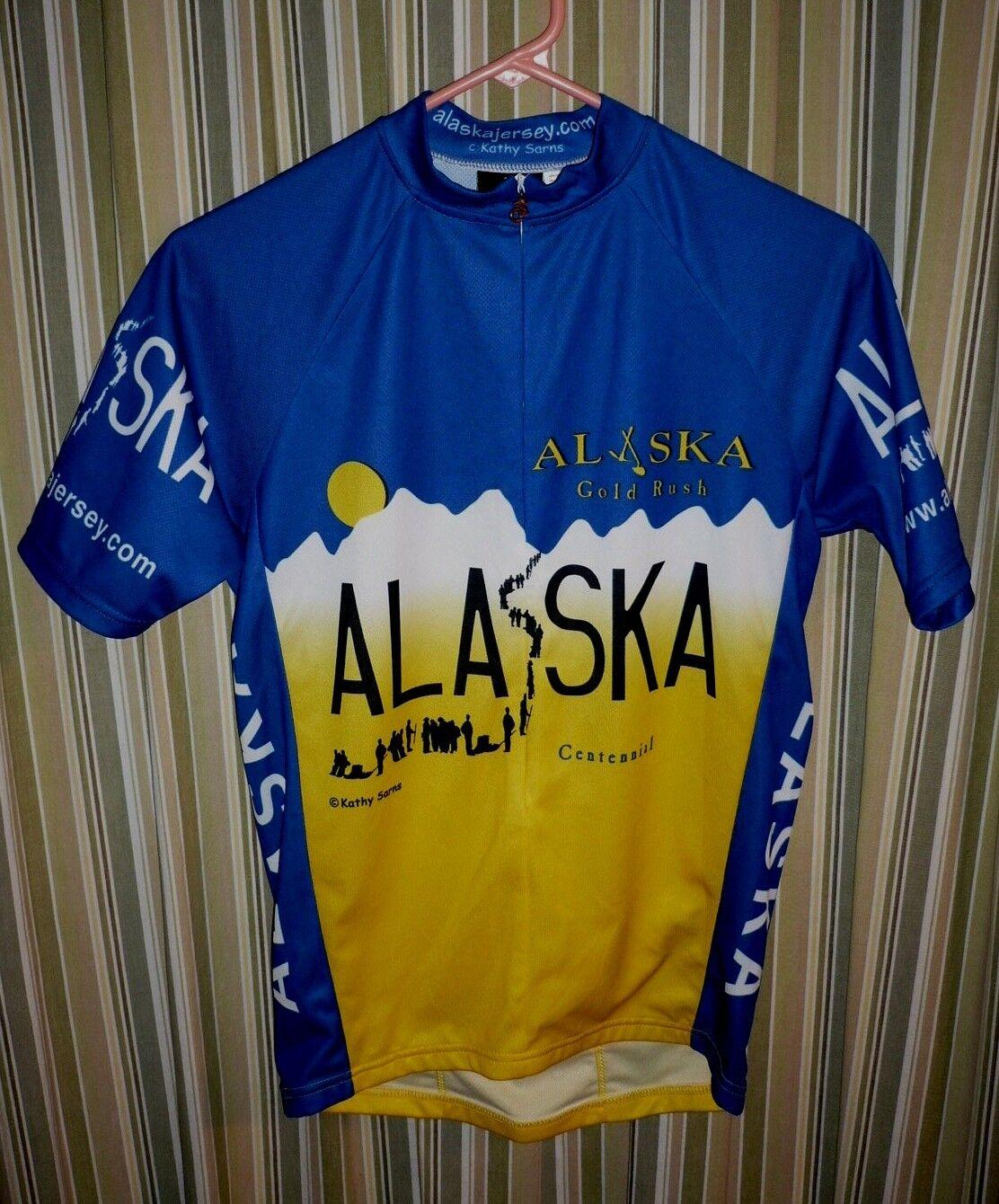 Alaska Centennial ' gold Rush ' Bike Cycling by artist Kathy Sarns SIZE SMALL.SS