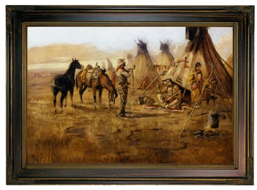 Russell Cowboy Bargaining for an Indian Girl Wood Framed Canvas Prnt Repro 12x18