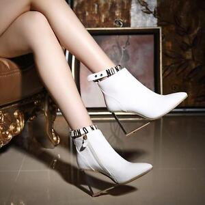 Womens-Retro-Chic-Leather-Pointy-Toe-Transparent-Wedge-Heels-Zip-Boots-Shoes-AU