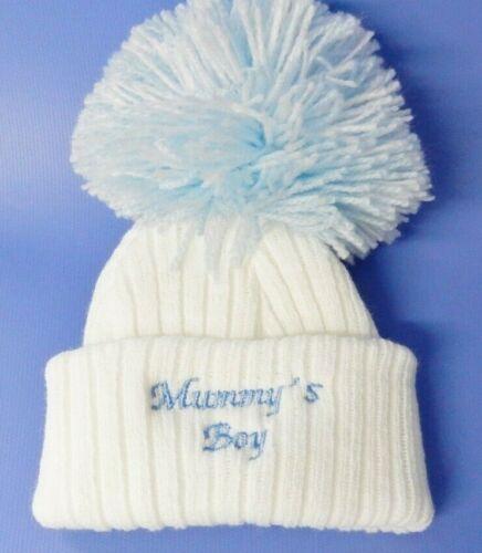 0-3 MONTHS mummys boy white//blue pom pom bobble hat