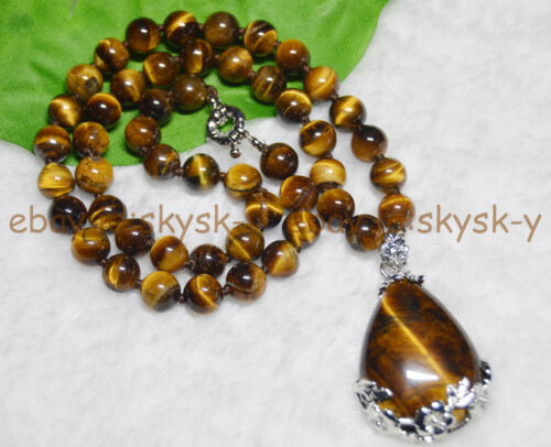 8 mm véritable tiger/'s Eye Gems Stone perles rondes Collier Goutte Pendentif Long 24 in environ 60.96 cm