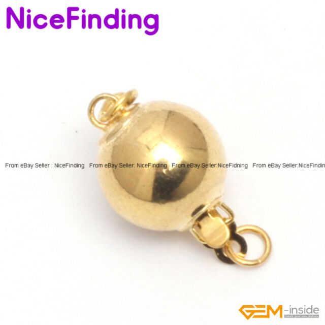 8mm Yellow Gold Plated Ball Clasp Jewelry Making Design Repair Findings GP0027