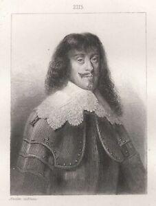 Portrait-de-Bernard-Duc-DE-Saxe-Weimar-Gravure-originale-XIXe