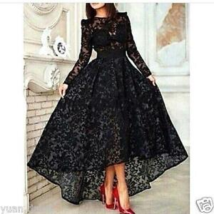 f9f030904007 High Low Black Lace Evening Dress Long Sleeves Party Prom Gown ...
