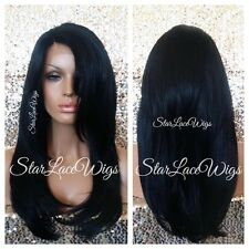 100% Human Hair Blend Straight Lace Front Wig Layered Bangs #1b Heat Safe Ok