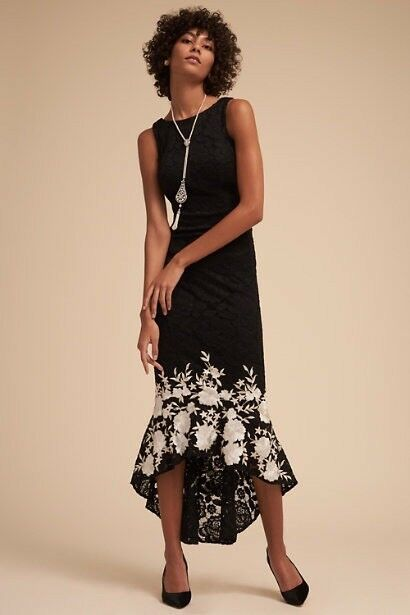 Anthropologie BHLDN Hewitt robe motif fleuri noir taille 0 broderie
