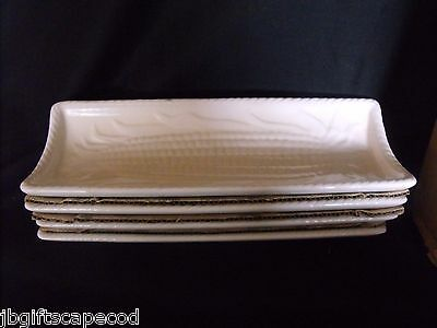 4 LOT -VINTAGE CORN ON THE COBB PLATES by KNOBLER - CERAMIC IN ORIGINAL BOX !