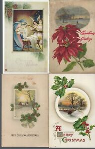 Vintage-Assorted-Christmas-Postcards-Circa-1800-039-s-1900-039-s-Lot-of-5