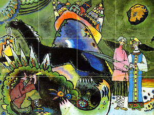 Russian Art Wassily Kandinsky Mural Horse Travertine Backsplash Tile #678