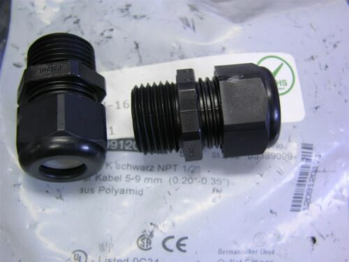 """5 Hummel AG 1.209.1201.71 Black 1//2/""""NPT Industrial Cable Gland for 5-9mm Cable"""