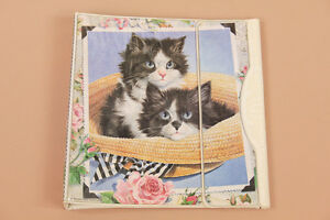 VTG-80s-FURRY-KITTENS-Cats-White-TRAPPER-KEEPER-Notebook-Novelty-BINDER