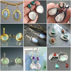 925-Silver-Ear-Dangle-Drop-Earrings-for-Women-White-Fire-Opal-Trendy-Jewelry