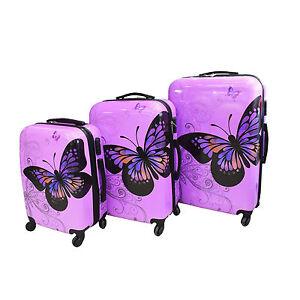 Hard-Shell-4-Wheel-Suitcase-PC-Luggage-Trolley-Case-Cabin-Hand-Butterfly-Purple