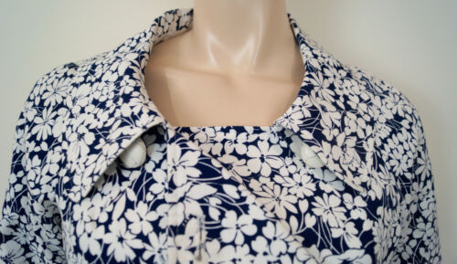 de et blanc à coton marine mélange en bleu fleuri Uk10 imprimé Blazer Burberry Us8 London qBTZv00