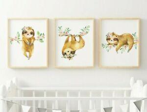 Blush Rosa perezosos Vivero imprime la pereza Decoración De Habitación Chica pared arte conjunto de 3 621-A