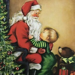 Vintage-Mid-Century-Christmas-Greeting-Card-Santa-Claus-With-Cute-Baby-Boy-Tree