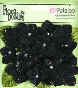 Hydrangeas-BLACK-22-flower-amp-leaf-mix-VELVET-GLITTER-20-30mm-Petaloo-HYD