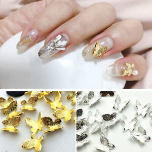 10-Pcs-Bag-Nail-Art-Butterfly-3D-Decoration-Silver-Gold-Jewelry-Nail-Accessories