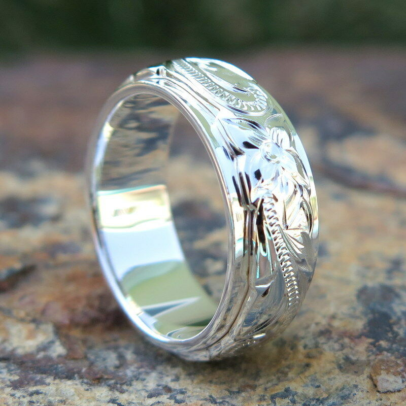 Hawaiian Sterling Silver Double Scrolling Flower Wedding Ring Band 8/6mm Sr1401