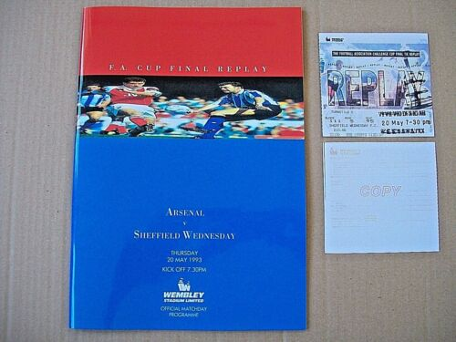 1993 FA Cup final replay programme total mint condition Arsenal v Sheff W repro.