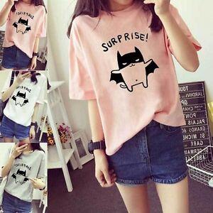 Women-Lady-Korean-Summer-Short-Sleeve-T-Shirt-Student-Cute-Top-034-Suprise-034-Blouse