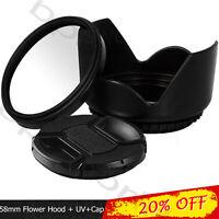 58mm UV Filter +Lens Cap + HOOD SET for canon EOS 18-55mm lens Nikon Sony Sigma