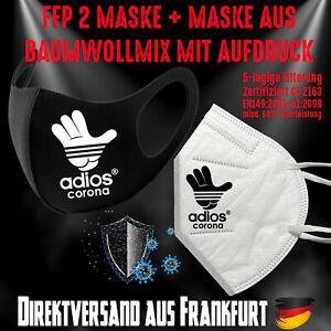 Fashion Mask Baumwollmix waschbar plus FFP2 Mundschutz Maske Adios Corona Bundle