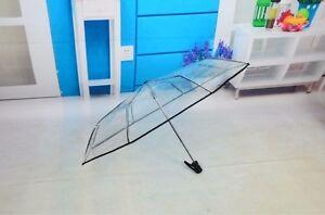 Faltbare-Transparent-Kuppel-Schirm-Regenschirm-Taschenschirm-Fuer-Hochzeit-NEU