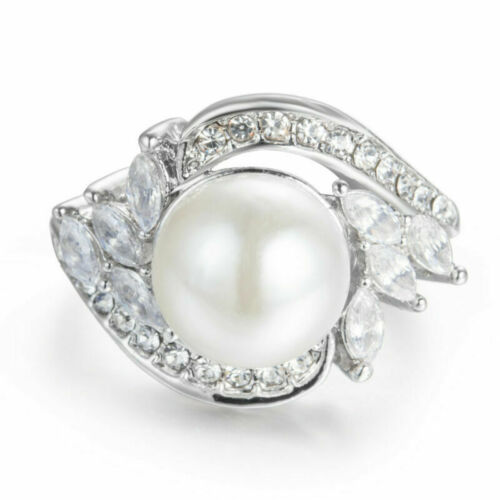 AAA CZ White Pearl Band 925 Silver Engagement Women Jewelry Ring Size 6-7
