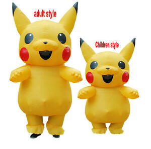 Image is loading Adult-kids-Mascot-Pikachu-Inflatable-Costume -Cosplay-Masquerade-  sc 1 st  eBay & Adult kids Mascot Pikachu Inflatable Costume Cosplay Masquerade ...
