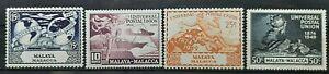 MALACCA MALAYA ( MALAYSIA ) 1949 75TH ANNIV. OF UPU SG 63 - 66 MLH OG