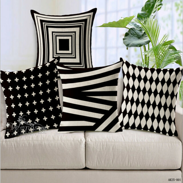 Cotton Pillow Cushion Case Cover Home Car Sofa Bed Linen Throw Decor Gift Black